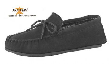 Men's Suede Moccasins with a Hard Sole BROWN up to size 15